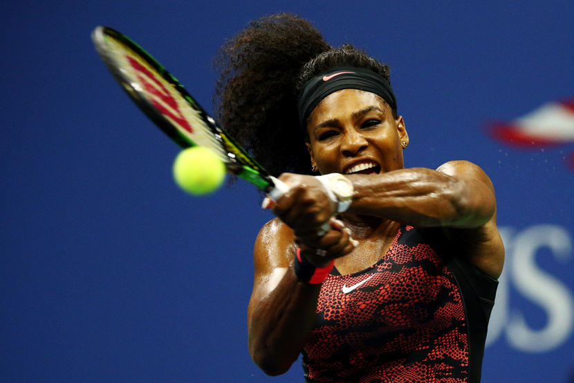 NEW YORK, NY - SEPTEMBER 08: Serena Williams of the United States returns a shot to Venus Williams of the United States during their Women's Singles Quarterfinals match on Day Nine of the 2015 US Open at the USTA Billie Jean King National Tennis Center on September 8, 2015 in the Flushing neighborhood of the Queens borough of New York City. (Photo by Clive Brunskill/Getty Images)